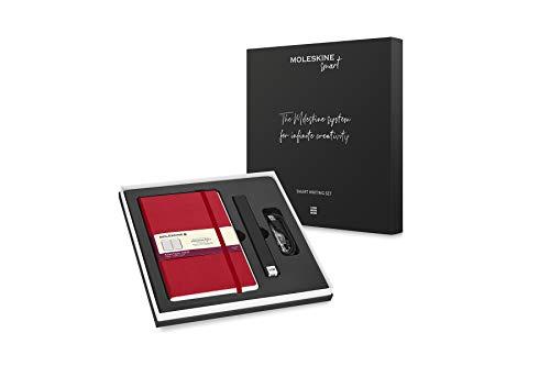 Moleskine - Set de Escritura Inteligente, Cuaderno Digital y Bolígrafo, Ellipse Smart Bolígrafo, Cuaderno con Tapa Dura Negra Apto para Uso con Bolígrafo Moleskine, Hojas Rayadas, Rojo