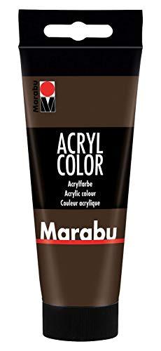 Marabu 12010050045 - Acryl Color dunkelbraun 100 ml, cremige Acrylfarbe auf Wasserbasis, schnell trocknend, lichtecht, wasserfest, zum Auftragen mit Pinsel und Schwamm auf Leinwand, Papier und Holz