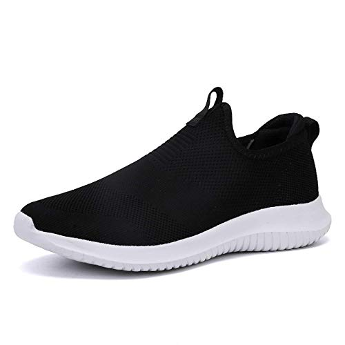 Fashion Shoes Lightweight Comfortable Breathable Best Walking Shoes for Men Slip-On Mesh Sneakers All Seasons Penny Loafers Black