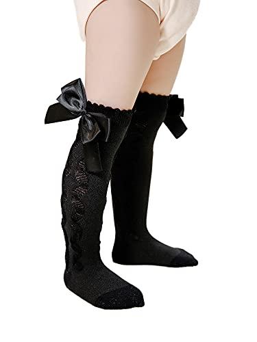 WangsCanis Overknee - Calcetines de algodón suave con lazo, para bebés y niños pequeños, Negro , S