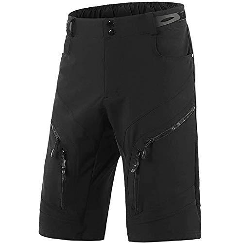 Pantalones Cortos de Ciclismo MTB para Hombre Diseño Antideslizante, Ligero y Holgado Impermeable Ropa Interior Bicicleta montaña, para al Aire Libre Correr Entrenamiento Gimnasio,Negro,M