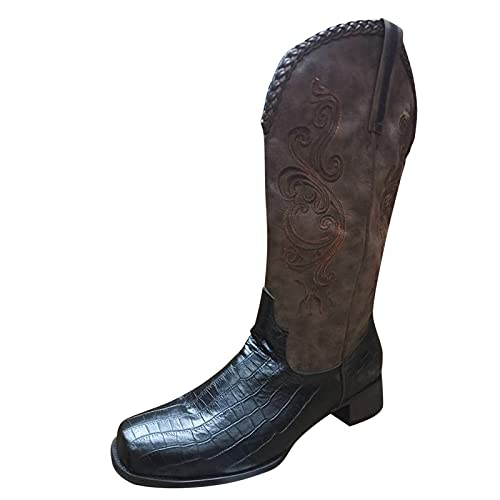 Fullwei Cowboy Boots for Women,Women Vintage Cowgirl Embroidery Round Toe Boot Western Mid Wide Calf Pull-Up Motorcycle Riding Boot Walking Shoe (Black, 9.5-10)