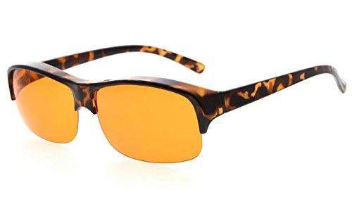 Eyekepper 100% Anti-Blue Light Blocking Fitover Glasses,Wear Over Reading and Prescription Glasses with Extra Amber Lens, Tortoise