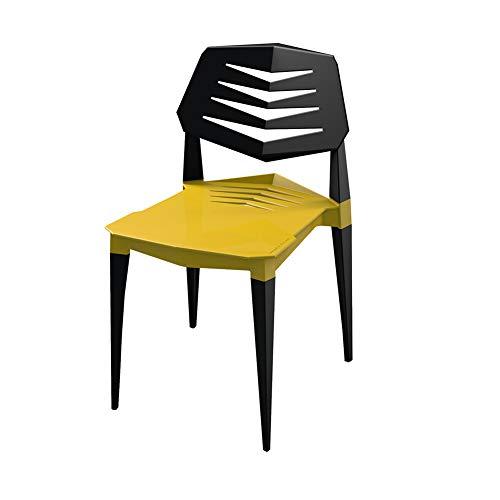 WYB Silla de plástico de Ocio Silla ergonómica Silla de Mesa de Bar de Silla Adecuada para Sala de Estar, Restaurante, cafetería, diseño Curvo, sedentario,Amarillo