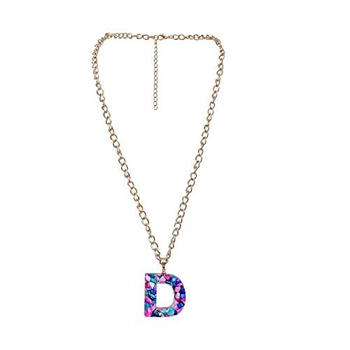 nice cheng Collar Salvaje De Cadena De Clavícula con Colgante De 26 Letras De Piedra De Color Creativo Personalizado