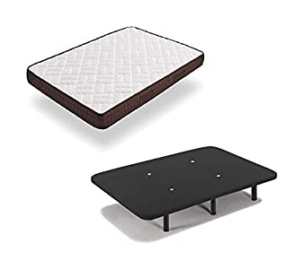 HOGAR24 ES Cama Completa - Colchón Viscobrown Reversible + Base Tapizada 3D Color Negro + 6 Patas de 32cm, 135x190 cm