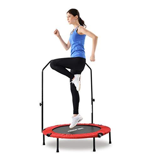 TTK 40' N-type Trampoline, Foldable Fitness Rebounder, Mini trampoline with adjustable foam handle, Home exercise trampoline, Max. Load 100kg, Ø102cm Trampoline