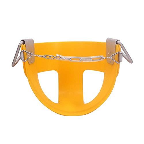 Life accessories Columpio para niños con respaldo alto y cubo completo Asiento de columpio para niños pequeños con cadenas revestidas de plástico Juego de columpios (Color: Amarillo Tamaño: 32x25x2