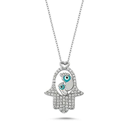 Bulvardi Collar de plata de 925 quilates con circonio de piedra del pie del bebé de la mano de Fátima con revestimiento especial contra la atenuación regalo adecuado f