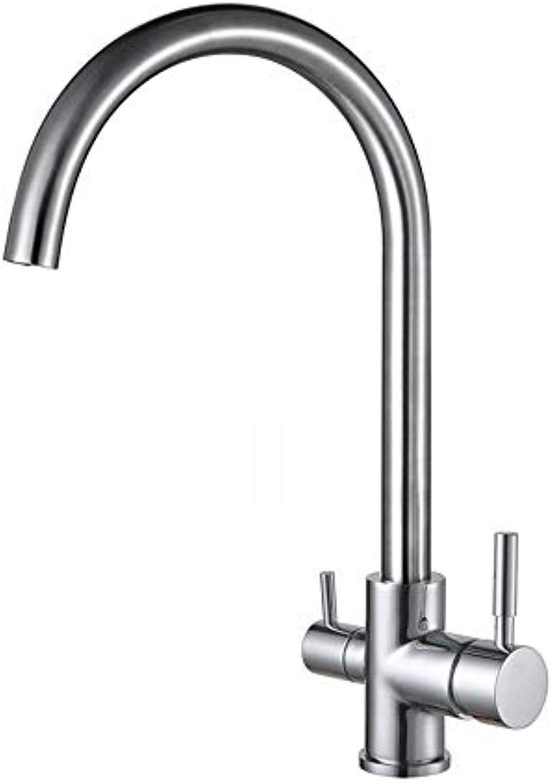 Wapipey Trinkwasser Wasserhahn 3 Way Wasserfilter Luftreiniger Küchenarmaturen Für Waschbecken Wasserhhne 304 Edelstahl Wasserhahn Gebürstet Wasserhahn