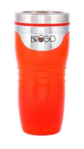 Brugo Mug de voyage 3ème génération anti-fuite avec chambre de contrôle de température intégrée, sans BPA, orange