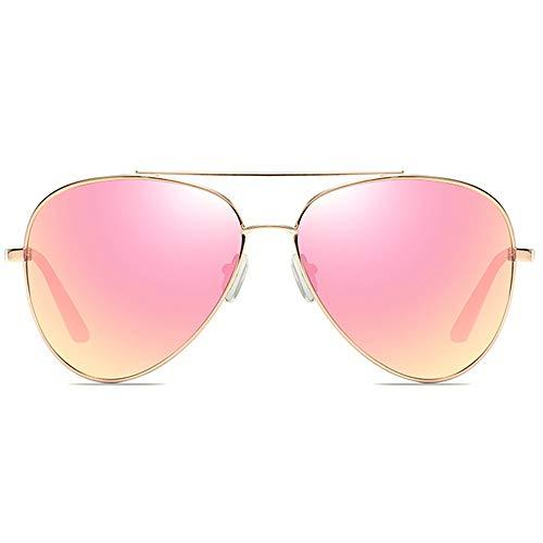 DKee Nuevas Gafas De Sol De Material Metálico Clásico, Montura Dorada, Lentes De Color Rosa, Hombres Y Mujeres con Las Mismas Gafas De Sol Polarizadas. Gafas de Sol