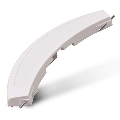 Tirador de puerta de plástico de repuesto para Bosch Siemens 00266751 266751 266751, ojo de buey, 200 x 47 x 18 mm, color blanco, con ejes para lavadora
