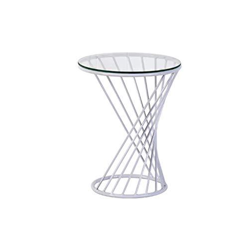 table basse table basse Nordic Iron art/verre trempé Simplicité moderne Salon de loisirs balcon Côté (Couleur : B, taille : 50cm*60cm)