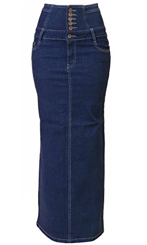 Women's Juniors High Waist Long Pencil Skirt in Blue Size XL