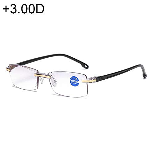 Leesbril Rimless Anti Blauwe Blauwe Film Lenzen Presbyopische Bril, 3.00D (Zwart) Zwart