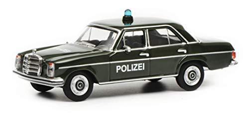 Schuco 452017600 452017600-Mercedes Benz 200D Polizei 1:64, Modellauto, Modellfahrzeug, grün