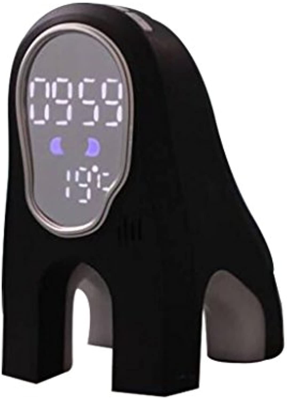 Smart LED Wecker Elektronische Stumm Student Schlafsaal Faul Mit Snooze Musik Alarm Mini Nette Nachtlichter (Farbe   schwarz)