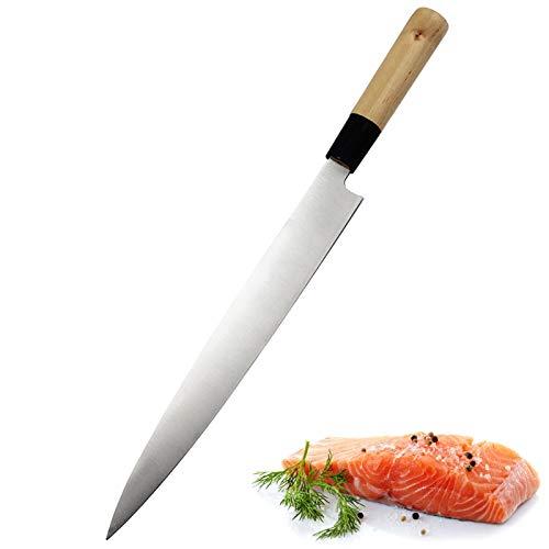 Cuchillo de sushi de salmón Cuchillo de cocina de acero inoxidable Sashimi Cuchillo de cocina Sashimi Crudo Pescado Filete Cuchillo Cocina Cuchillos Cuchillos (Kitchen Knife Size : 14inch)