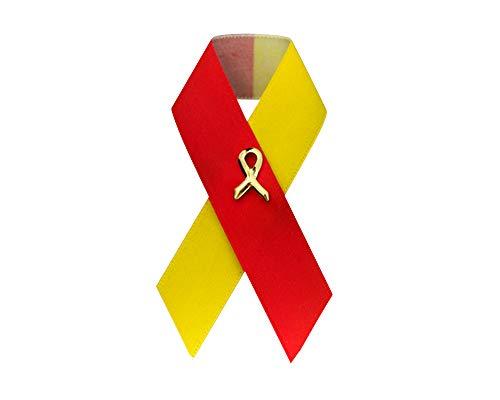 Fundraising for a Cause | Satin Red & Yellow Ribbon Awareness Pins - Coronavirus Disease (COVID-19) and Hepatitis C Awareness Satin Ribbon Pins for Fundraisers (100 Pins)