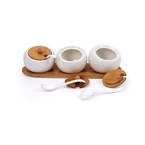 Spice Storage 3 Stuks/Set Keramische Kruiden Spice Box Kruiden Shaker en Lepel met Bamboe Deksel en Lade Storage…