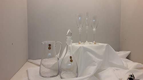 Fade Juego de Copas de Cristal de 38 Piezas: 12 Copas de Agua ML270-12 Copas de Vino ML240-12 Copas ML150-1 Jarra LT1.25-1 Botella de 1 litro. Modelo 103.