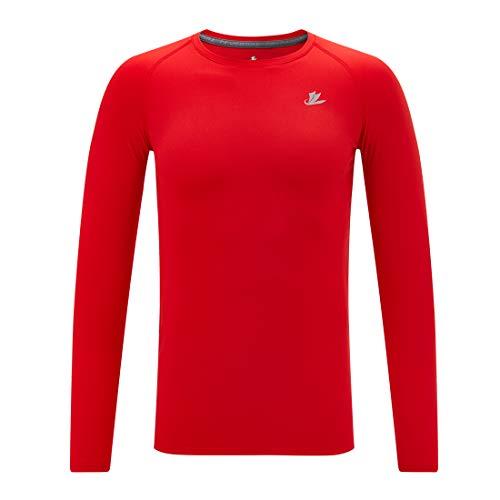 Devoropa Youth Boys Compression Thermal Shirt Long Sleeve Fleece Baselayer Soccer Baseball Undershirt Red L