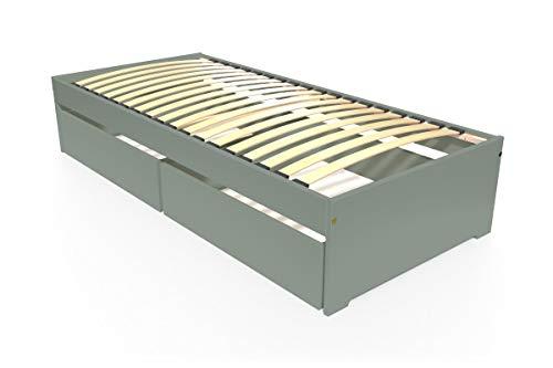 ABC MEUBLES - Lit simple MALO 90x190 cm + tiroirs - TOPMALO90T - Gris, 90x190