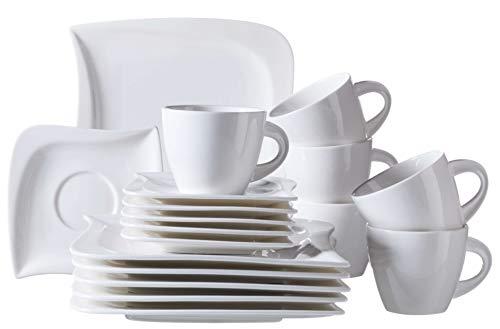 Mäser Serie La Musica, Kaffeeservice 18-teilig, für 6 Personen, Porzellan, weiß