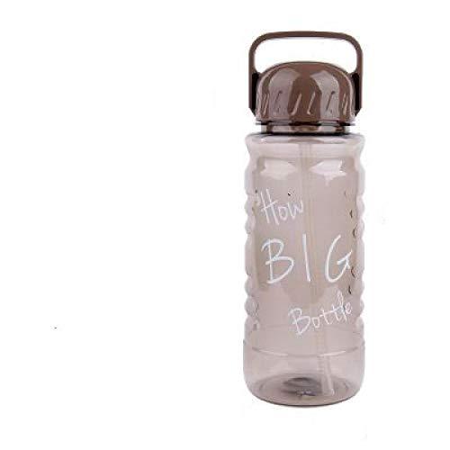 letaowl Botella de agua con paja 2L de gran capacidad creativa Bicicletas deporte al aire libre de plástico mi botella de agua mango portátil colador de té paja hervidor 2000 mlmarrón