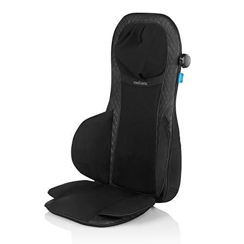 Medisana MCG 820 Gel Funda de asiento de masaje Shiatsu, cojín de masaje con función de calor, 4 cabezales de masaje de gel giratorios, masaje de cuello integrado, 3 niveles de intensidad