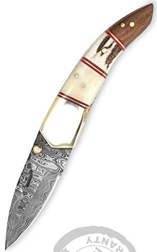 Perkin Knives Taschenmesser/Camping-Werkzeug, Damastklinge, handgemacht