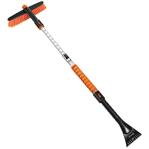 """AstroAI 47.2"""" Ice Scraper, Extendable Snow Brush for Leaves Removal,Ice Scraper for Car Windshield, Car Auto Truck SUV Windshield with Foam Grip and 360° Pivoting Brush Head (Orange)"""