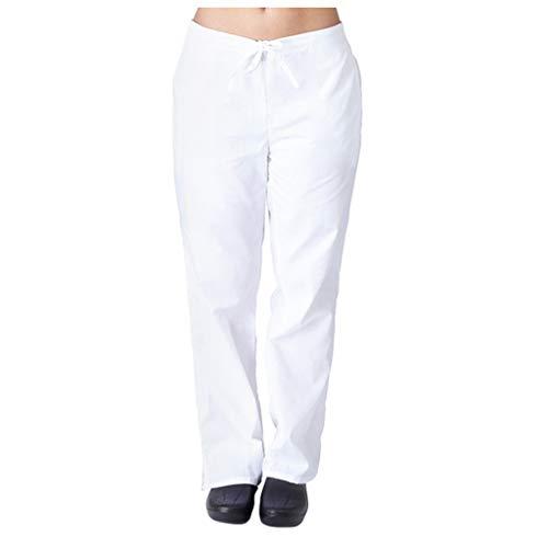 Smony Tunika-Uniform für Damen, Herren, kurzärmelig, V-Ausschnitt, Oberteil + Hose, Pflege-Uniform, Arbeitskleidung, medizinische Ärzte, Unisex, 2 Taschen Gr. X-Large, Weiß (Hose)
