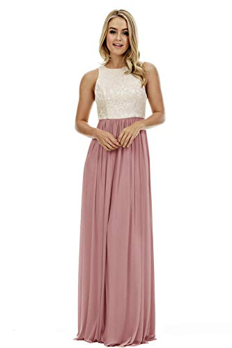 Women's A Line Top Lace Bodice Chiffon Bridesmaid Dress Long Formal Party Dress Dusty Rose Size 14