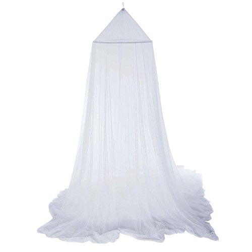 Milopon Moustiquaire ronde - Pour lit simple ou double - Intérieur ou extérieur - Blanc