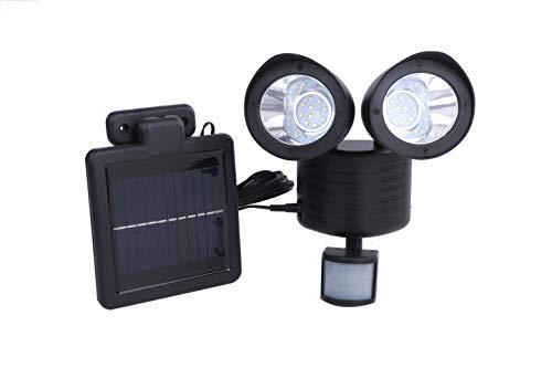 LED 22灯 搭載 人感センサーライト 850lm 太陽光 ソーラー パネル 防犯 玄関灯 (ブラック)