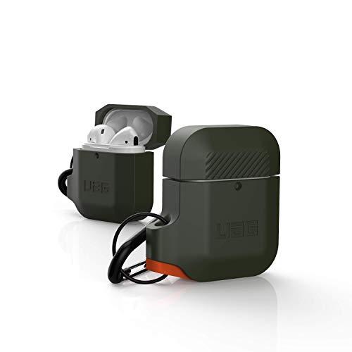 Urban Armor Gear Funda de Silicona Apple Airpods 2 (2019) / Apple Airpods 1 (2016) (Carga Inalámbrica Compatible con 2ª Generación, Resistente a los Choques, Incluido el Mosquetón) - verde / naranja