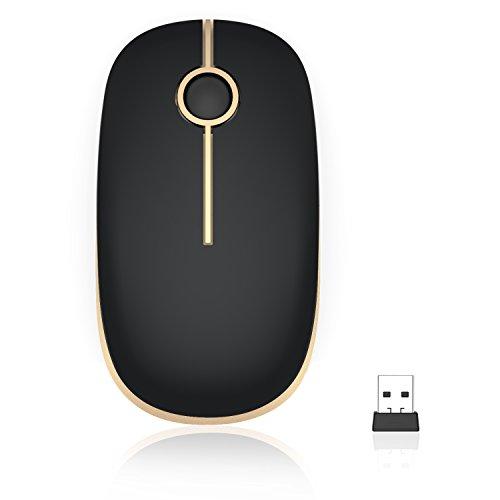 Kabellose Maus, Jelly Comb 2.4G Funkmaus Computermaus Kabellos Laptop Maus Wireless Optische Maus mit USB Nano Empfänger für Windows/Mac/Linux (Schwarz und Gold)