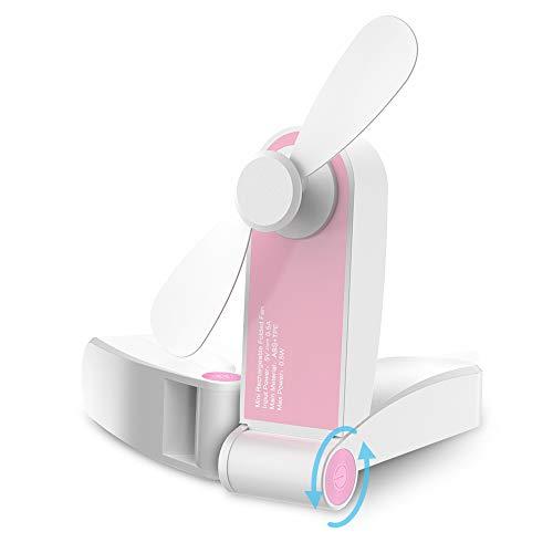 GeeRic Mini Ventilatore Pieghevole USB Ventilatore da Tavolo Silenzioso Portatile Ventilatore da Scrivania Mini Fan per la Casa Ufficio Campeggio Biblioteca Viaggio Rosa