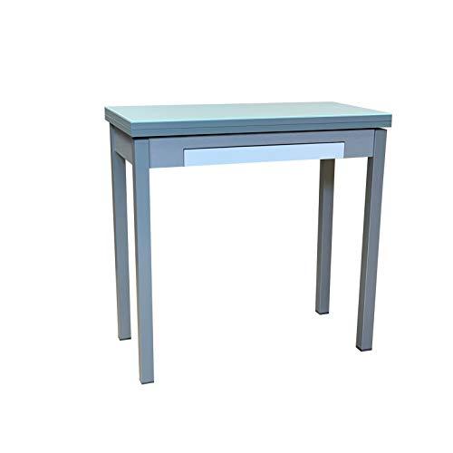 Sueña y Descansa Mesa Libro Tapa de Cristal Color Blanco 90 x 50 cm Extensible 90x 100 cm