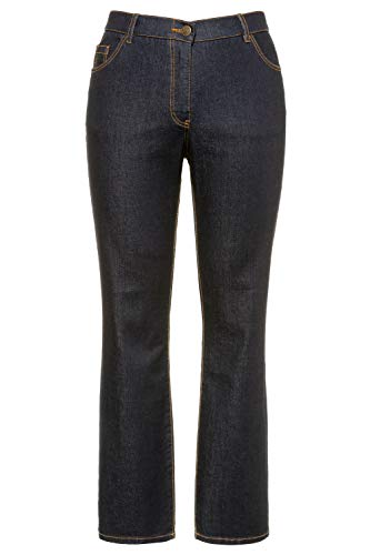Ulla Popken Damen Mandy, 5-Pocket, Komfortbund, gerades Bein Jeans, Blau (Dark Denim 93), 46