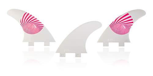 QUILLA Surf FCS Compatible Tri-Set A2 Composite 40% Fibra DE Vidrio. Sistema Fusion. Talla M (Blanco/Rosa)