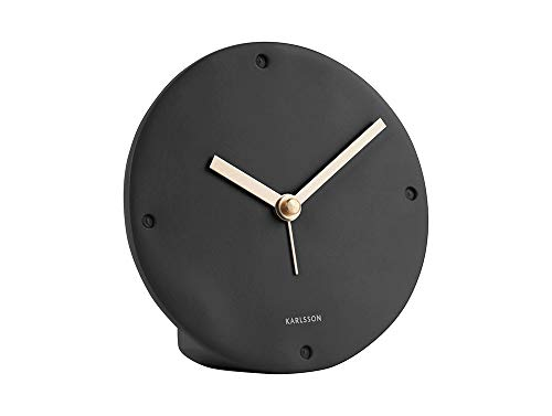 Onbekend Karlsson - klok, wekker mantel - polyhars - zwart - Ø12 x D2,7 cm