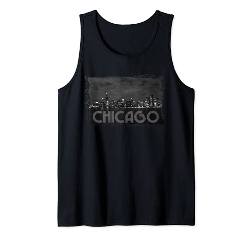 Chicago Skyline Chi Town Jolie ville venteuse la nuit Débardeur