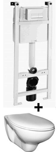 Ceravid Wand WC Tiefspüler hänge WC inkl. Unterputz Spülkasten Trockenbau, C07034000