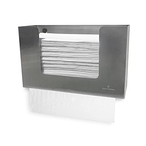 Oasis Creations Papierhandtuchspender aus Edelstahl, für 250 Papierhandtücher, Wandmontage, Küchenhandtuchspender, Universal-Papierhandtuchhalter