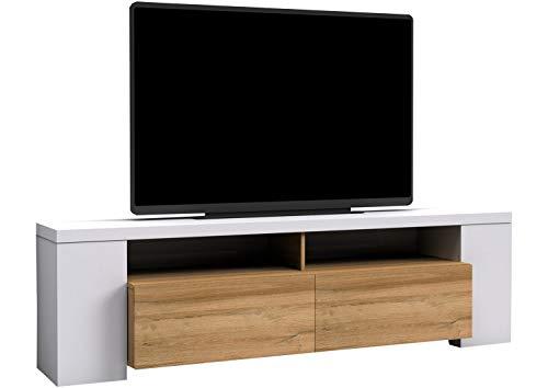 Nicht Zutreffend TV-Lowboard Fernsehschrank Fernsehtisch   Dekor   Weiß Hochglanz   Balkeneiche   190x55x42 cm