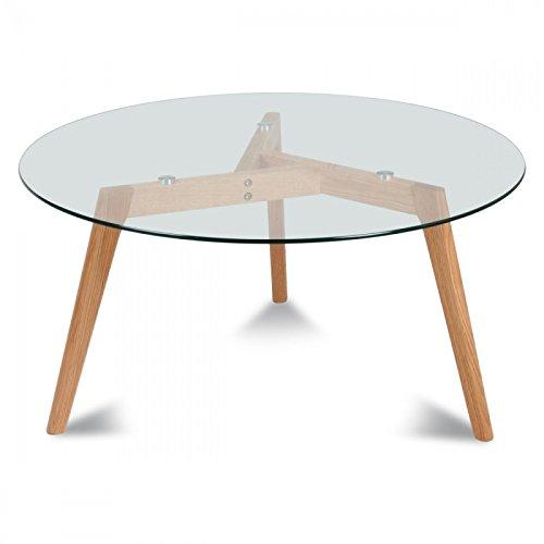 Déco en Ligne - Table Basse Greta Ronde en Verre et chêne - Ø 60 cm