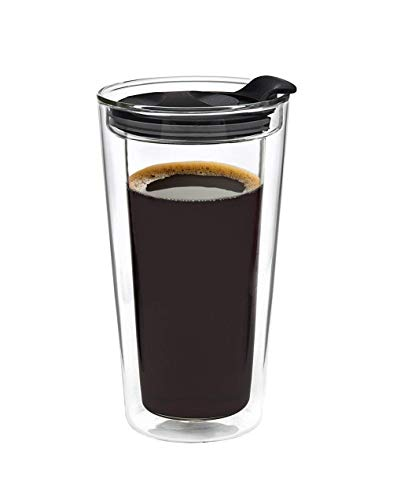 Glass Travel Mug Tumbler Double Wall Cup For Coffee/Tea - 16oz